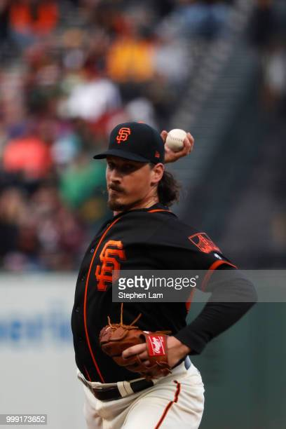 Jeff Samardzija of the San Francisco Giants delivers a pitch during the first inning against the Oakland Athletics at ATT Park on July 14 2018 in San...