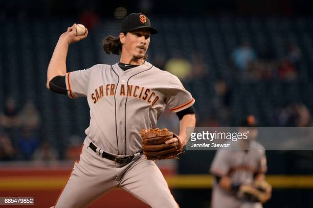 Jeff Samardzija of the San Francisco Giants delivers a pitch in the first inning against the Arizona Diamondbacks at Chase Field on April 6 2017 in...