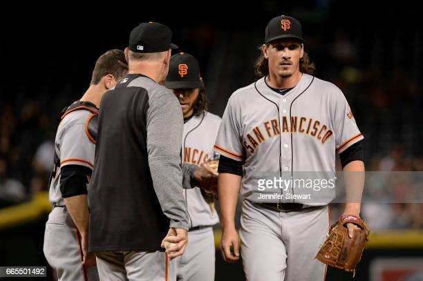 Jeff Samardzija of the San Francisco Giants is relieved by manager Bruce Bochy in the sixth inning of the MLB game against the Arizona Diamondbacks...