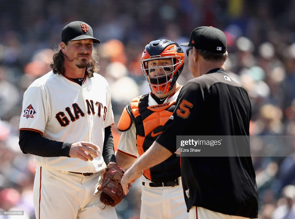 Jeff Samardzija #29 of the San Francisco Giants is taken out of their game against the Washington Nationals in the fourth inning by manager Bruce Bochy at AT&T Park on April 25, 2018 in San Francisco, California.