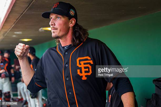 Jeff Samardzija of the San Francisco Giants looks on during a spring training game against the Los Angeles Angels of Anaheim at Scottsdale Stadium on...