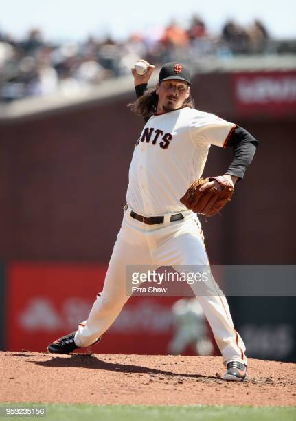 Jeff Samardzija of the San Francisco Giants pitches against the Washington Nationals at ATT Park on April 25 2018 in San Francisco California