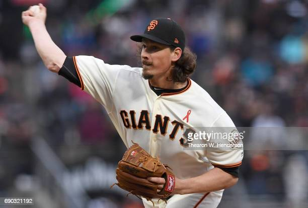 Jeff Samardzija of the San Francisco Giants pitches against the Washington Nationals in the top of the first inning at ATT Park on May 30 2017 in San...
