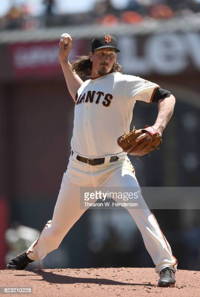 Jeff Samardzija of the San Francisco Giants pitches against the Pittsburgh Pirates in the top of the first inning at ATT Park on July 26 2017 in San...