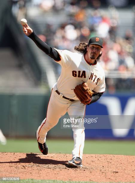 Jeff Samardzija of the San Francisco Giants pitches against the Washington Nationals in the third inning at ATT Park on April 25 2018 in San...