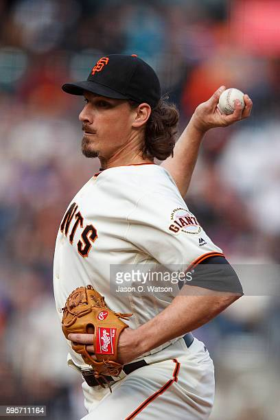 Jeff Samardzija of the San Francisco Giants pitches against the New York Mets during the second inning at ATT Park on August 21 2016 in San Francisco...