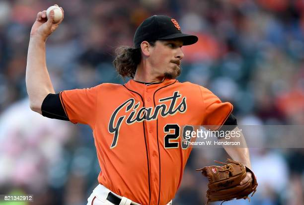 Jeff Samardzija of the San Francisco Giants pitches against the San Diego Padres in the top of the first inning at ATT Park on July 21 2017 in San...