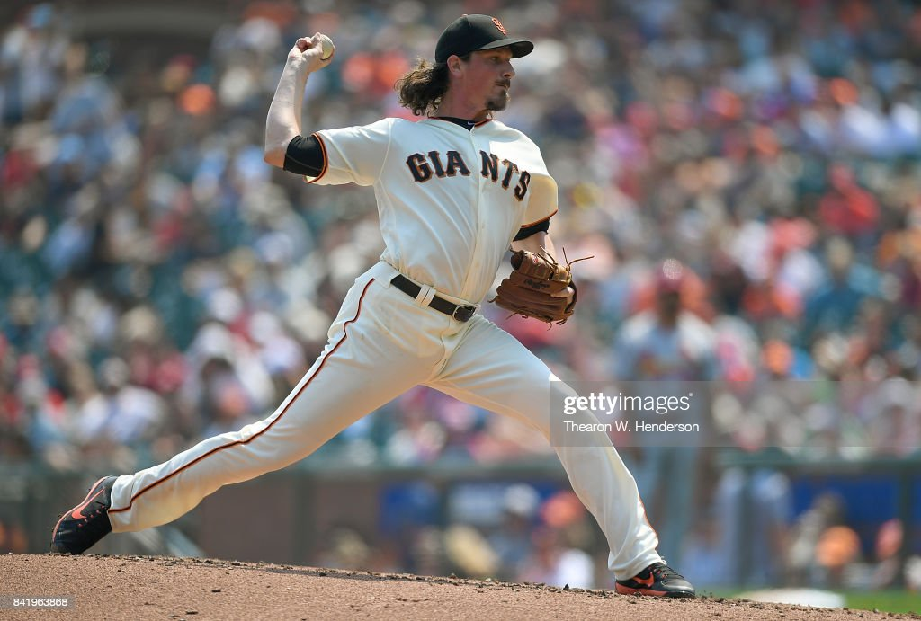 Jeff Samardzija #29 of the San Francisco Giants pitches against the St. Louis Cardinals in the top of the second inning at AT&T Park on September 2, 2017 in San Francisco, California.