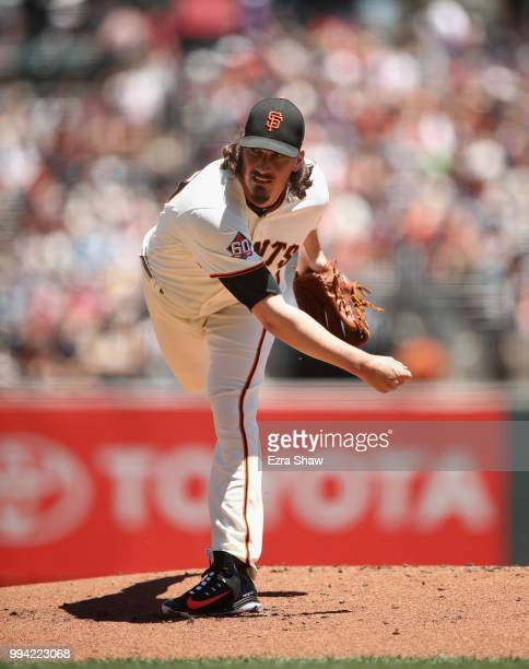 Jeff Samardzija of the San Francisco Giants pitches against the St Louis Cardinals at ATT Park on July 7 2018 in San Francisco California