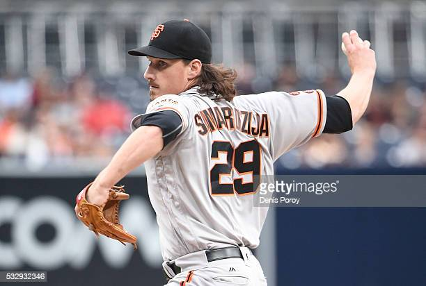Jeff Samardzija of the San Francisco Giants pitches during the first inning of a baseball game against the San Diego Padres at PETCO Park on May 19...