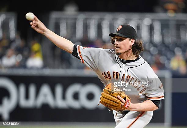 Jeff Samardzija of the San Francisco Giants pitches during the first inning of a baseball game against the San Diego Padres at PETCO Park on...