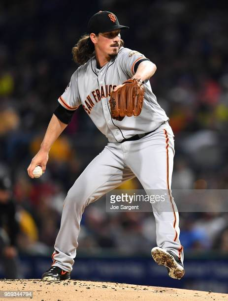 Jeff Samardzija of the San Francisco Giants pitches during the game against the Pittsburgh Pirates at PNC Park on May 12 2018 in Pittsburgh...