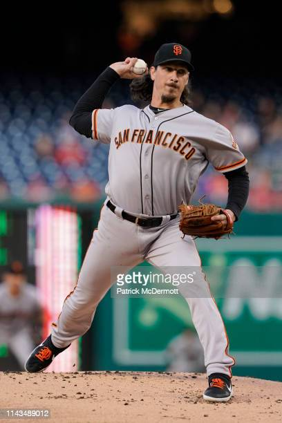 Jeff Samardzija of the San Francisco Giants pitches in the first inning against the Washington Nationals at Nationals Park on April 17 2019 in...