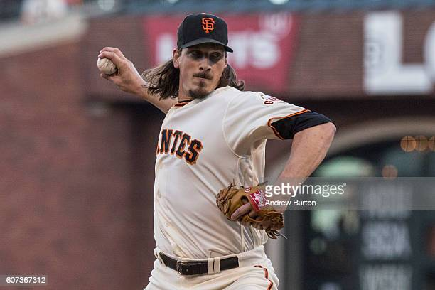 Jeff Samardzija of the San Francisco Giants pitches in the first inning against the St Louis Cardinals at ATT Park on September 17 2016 in San...