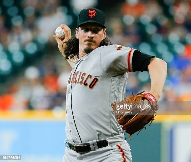 Jeff Samardzija of the San Francisco Giants pitches in the first inning against the Houston Astros at Minute Maid Park on May 23 2018 in Houston Texas