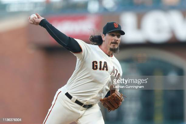 Jeff Samardzija of the San Francisco Giants pitches in the in the top of the first inning against the Colorado Rockies at Oracle Park on April 11...