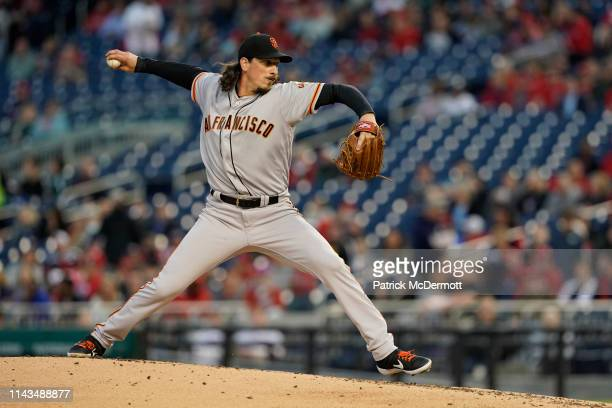 Jeff Samardzija of the San Francisco Giants pitches in the second inning against the Washington Nationals at Nationals Park on April 17 2019 in...