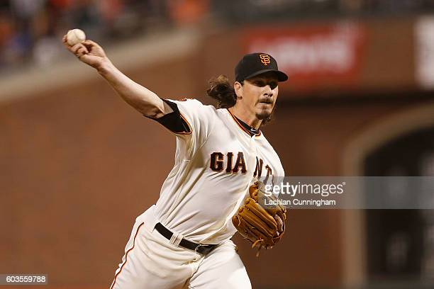 Jeff Samardzija of the San Francisco Giants pitches in the third inning against the San Diego Padres at ATT Park on September 12 2016 in San...