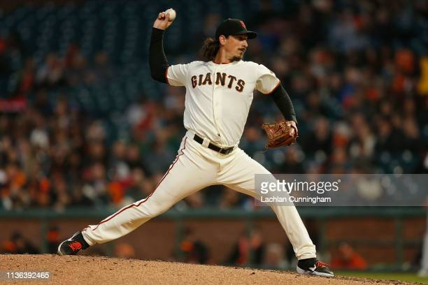 Jeff Samardzija of the San Francisco Giants pitches in the top of the fourth inning against the Colorado Rockies at Oracle Park on April 11 2019 in...