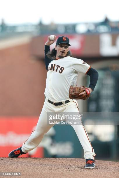 Jeff Samardzija of the San Francisco Giants pitches in the top of the first inning against the Colorado Rockies at Oracle Park on April 11 2019 in...