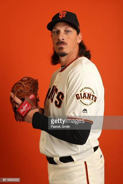 Jeff Samardzija of the San Francisco Giants poses on photo day during MLB Spring Training at Scottsdale Stadium on February 20 2018 in Scottsdale...