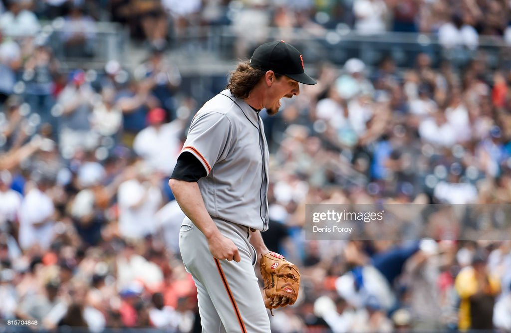 Jeff Samardzija #29 of the San Francisco Giants reacts after giving up a three-run home run to Cory Spangenberg #15 of the San Diego Padres during the third inning of a baseball game at PETCO Park on July 16, 2017 in San Diego, California.