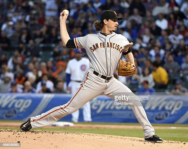 Jeff Samardzija of the San Francisco Giants throws against the Chicago Cubs during the first inning on September 01 2016 at Wrigley Field in Chicago...