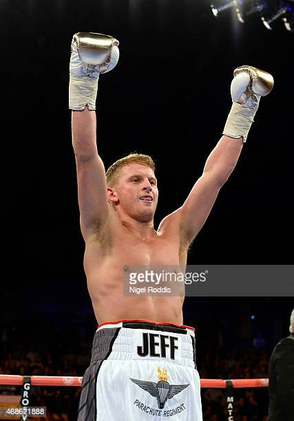 Jeff Saunders celebrates after beating Sandor Racz during their Welterweight boxing contest at the Metro Arena on April 4 2015 in Newcastle upon Tyne...