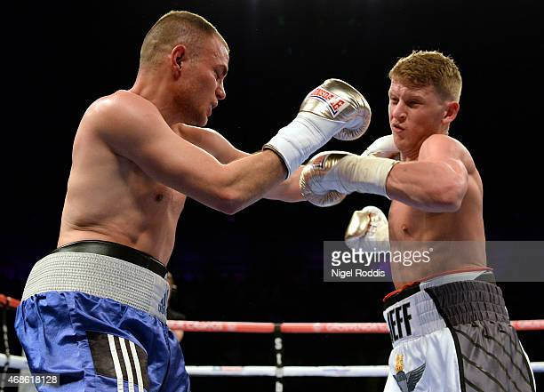 Jeff Saunders in action with Sandor Racz during their Welterweight boxing contest at the Metro Arena on April 4 2015 in Newcastle upon Tyne England