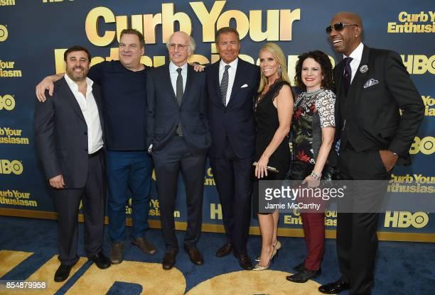 Jeff Schaffer Jeff Garlin Larry David Richard Plepler Cheryl Hines Susie Essman and J B Smoove attend the Curb Your Enthusiasm season 9 premiere at...