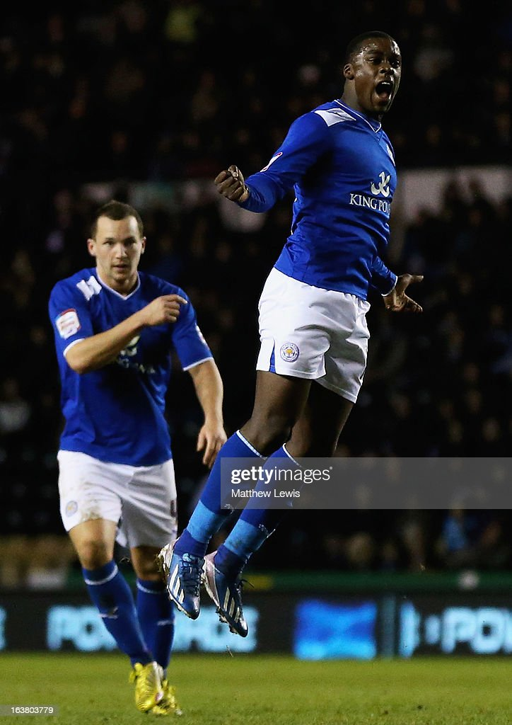 Jeff Schlupp of Leicester celebrates his goal during the npower Championship match between Derby County and Leicester City at Pride Park Stadium on March 16, 2013 in Derby, England.