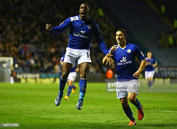 Jeff Schlupp of Leicester City celebrates his goal with Anthony Knockaert of Leicester City uring the npower Championship match between Leicester...