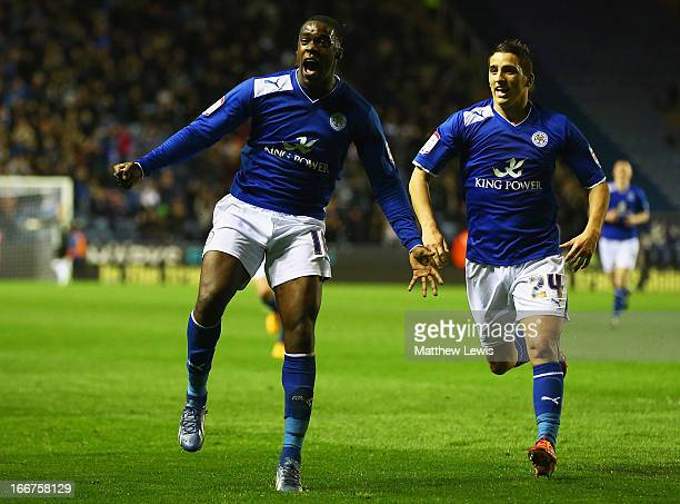 Jeff Schlupp of Leicester City celebrates his goal with Anthony Knockaert of Leicester City during the npower Championship match between Leicester...