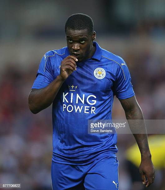 Jeff Schlupp of Leicester City celebrates scoring a goal during the preseason friendly between Oxford City and Leicester City at Kassam Stadium on...