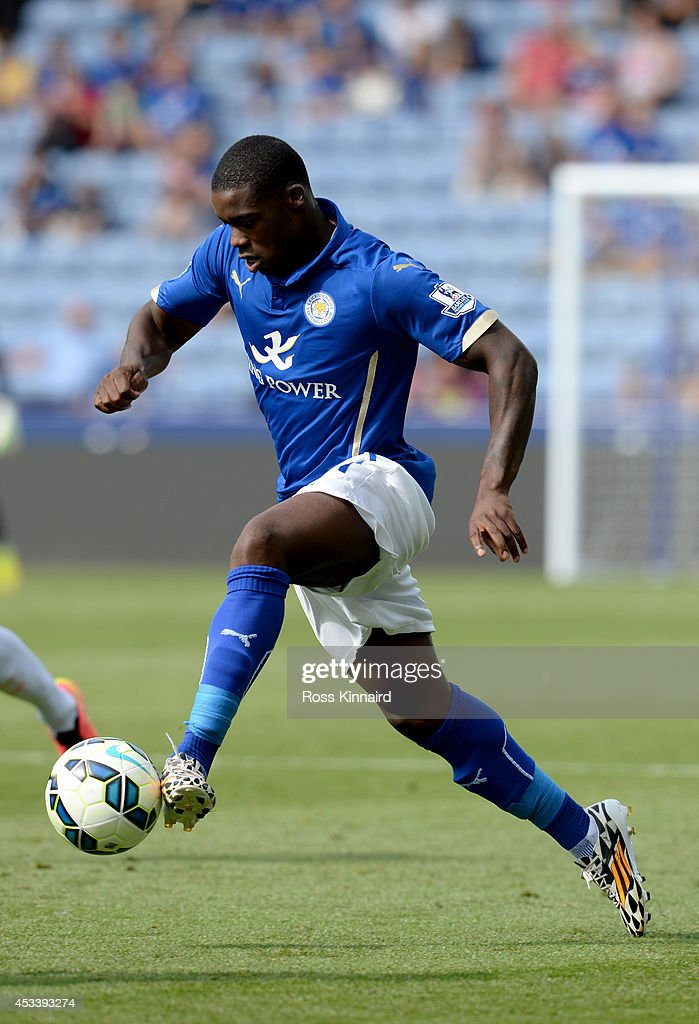 Jeff Schlupp of Leicester City in action during the pre season friendly match between Leicester City and Werder Bremen at The King Power Stadium on August 9, 2014 in Leicester, England.
