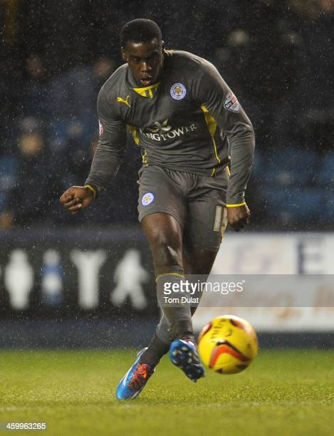 Jeff Schlupp of Leicester City scores a his goal during the Sky Bet Championship match between Millwall and Leicester City at The Den on January 01...
