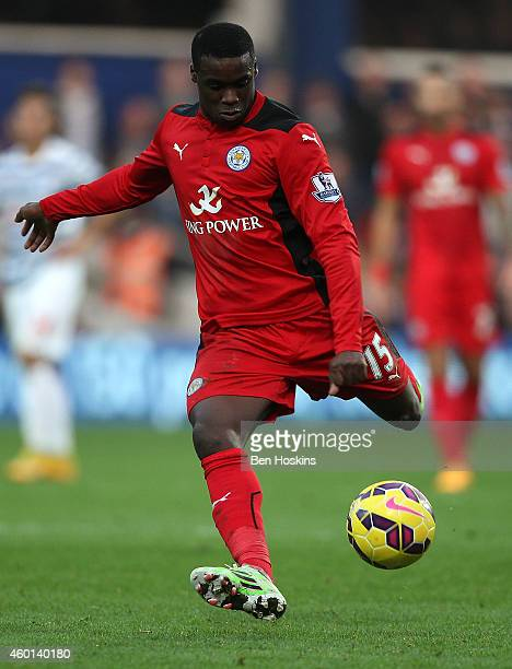 Jeff Schlupp of Leicester in action during the Premier League match between Queens Park Rangers and Leicester City at Loftus Road on November 29 2014...