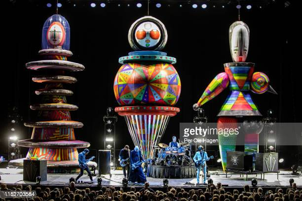 Jeff Schroeder Jack Bates Billy Corgan Jimmy Chamberlin and James Iha of Smashing Pumpkins perform at Oslo Spektrum on May 30 2019 in Oslo Norway