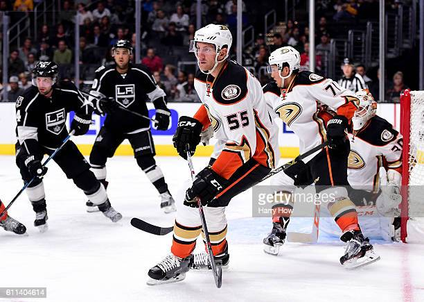 Jeff Schultz of the Anaheim Ducks on defense during a preseason game against the Los Angeles Kings at Staples Center on September 28 2016 in Los...