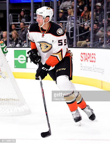 Jeff Schultz of the Anaheim Ducks starts a rush during a preseason game against the Los Angeles Kings at Staples Center on September 28 2016 in Los...