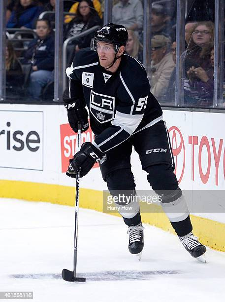 Jeff Schultz of the Los Angeles Kings begins a rush against the Anaheim Ducks at Staples Center on January 17 2015 in Los Angeles California