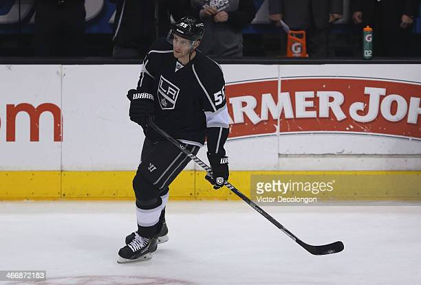Jeff Schultz of the Los Angeles Kings skates during warmup prior to their NHL game against the Chicago Blackhawks at Staples Center on February 3...