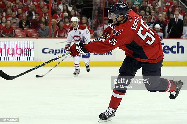 Jeff Schultz of the Washington Capitals skates against the Montreal Canadiens in Game Five of the Eastern Conference Quarterfinals during the 2010...