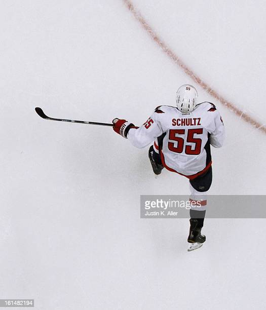Jeff Schultz of the Washington Capitals skates against the Pittsburgh Penguins during the game at Consol Energy Center on February 7 2013 in...