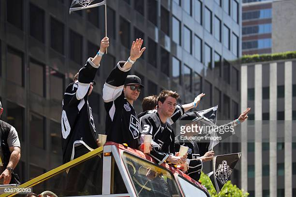 Jeff Schultz Tyler Toffoli and Martin Jones and Tanner Pearson at LA Kings 2014 Stanley Cup Victory Parade Los Angeles California