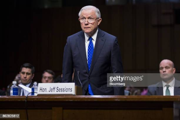 Jeff Sessions US attorney general arrives to testify during a Senate Judiciary Committee hearing in Washington DC US on Wednesday Oct 18 2017...