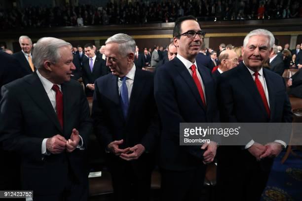 Jeff Sessions US attorney general from left Jim Mattis US secretary of defense Steven Mnuchin US Treasury secretary and Rex Tillerson US secretary of...