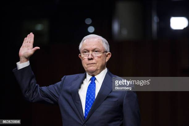 Jeff Sessions US attorney general is sworn in to testify during a Senate Judiciary Committee hearing in Washington DC US on Wednesday Oct 18 2017...