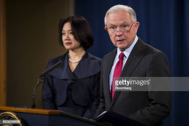 Jeff Sessions US attorney general speaks as Jessie Liu US district attorney for Washington DC left listens during a news conference at the US...
