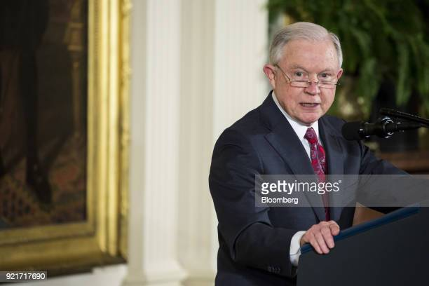 Jeff Sessions US attorney general speaks during a Public Safety Medal of Valor awards ceremony with US President Donald Trump not pictured in the...